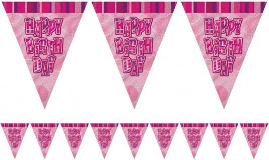 Happy Birthday Wimpel Girlande glitzerndes Pink