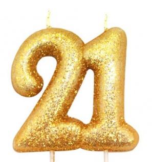 Kuchen Kerze 21. Geburtstag Gold Glitzer