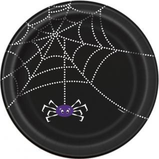8 Halloween Papp Teller Spinnen Netz - Vorschau 1