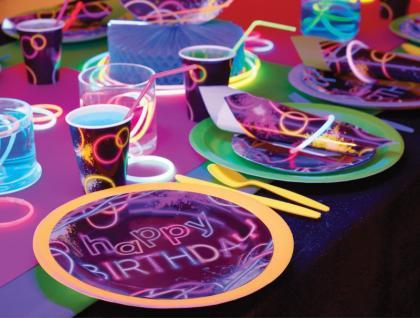 3 Papier Dekofächer Knicklicht Neon Raver Party - Vorschau 3