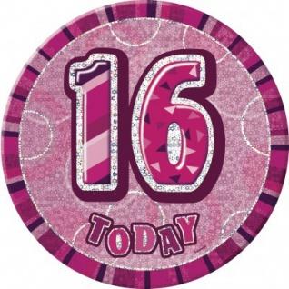 XXL Glitzer Button 16. Geburtstag Pink