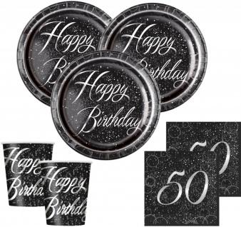 32 Teile edles Party Deko Set zum 50. Geburtstag in Schwarz Silber foliert für 8 Personen
