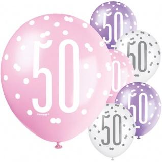 XL 36 Teile 50. Geburtstag Pink Dots Party Set 8 Personen - Vorschau 5