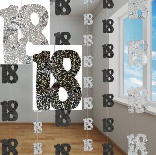 18. Geburtstag Glitzer Girlanden Schwarz + Silber