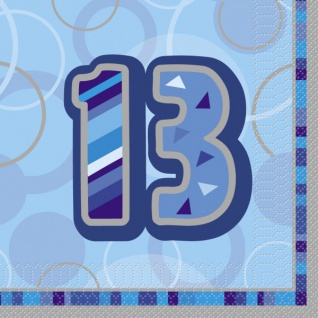 16 Servietten zum 13. Geburtstag in Blau