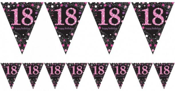 Wimpel Girlande Glitzerndes Pink und Schwarz 18. Geburtstag