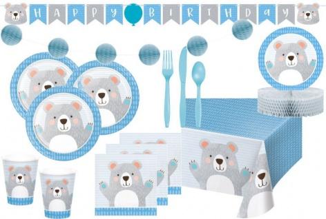 XXL 60 Teile blaues Bärchen Party Deko Set für 8 Personen
