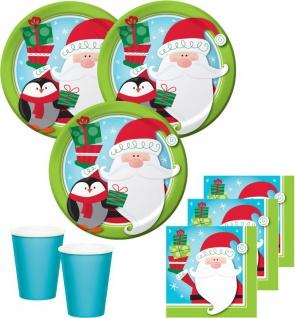 48 Teile Weihnachts oder Advents Set Pinguin und Weihnachtsmann für 16 Personen