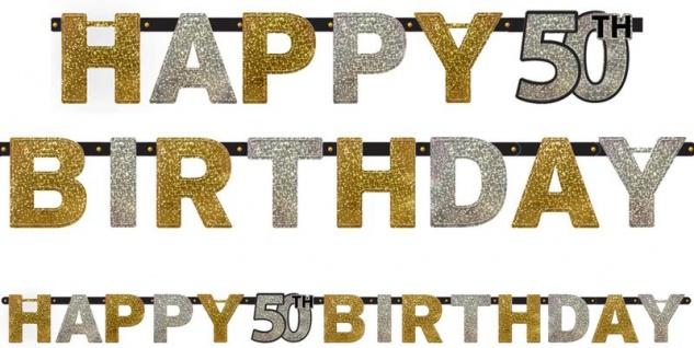 Geburtstags Girlande Glitzerndes Gold und Silber 50. Geburtstag