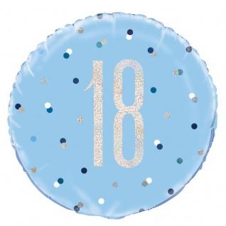 Folien Ballon Blue Dots Glitzer zum 18. Geburtstag