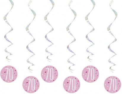 6 hängende Swirl Girlanden Pink Dots Glitzer zum 70. Geburtstag