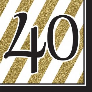 30 Teile Set zum 40. Geburtstag oder Jubiläum - Party Deko in Schwarz & Gold - Vorschau 3