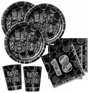 48 Teile zum 18. Geburtstag Party Set in Schwarz für 16 Personen
