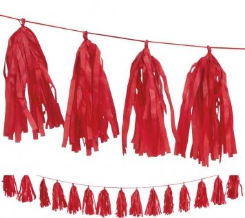 Quasten Girlande aus Seidenpapier in Rot