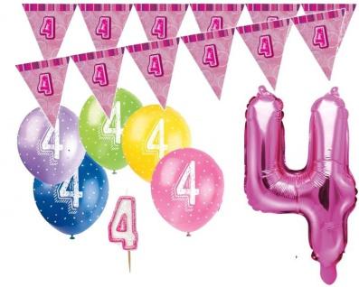 4. Geburtstag Pink Folienballon + Girlande + Luftballons + Kerze Deko Set - Vier
