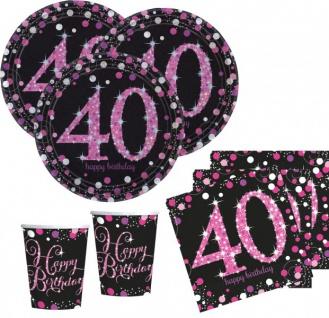 48 Teile zum 40. Geburtstag Pink Glitzer für 16 Personen
