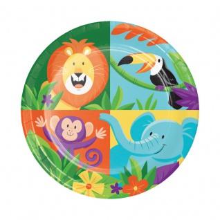 8 kleine Papp Teller fröhliche Dschungel Party