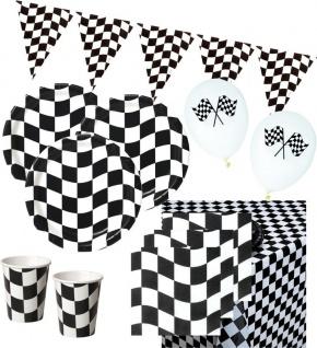 42 Teile Schwarz Weiß Formel 1 Party Set für 8 Personen