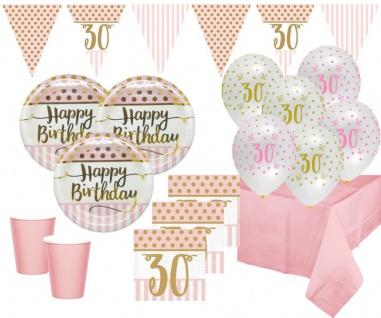 XL 44 Teile Pink Chic Party Deko Set zum 30. Geburtstag in Rosa und Gold Glanz für 8 Personen