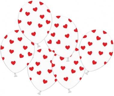 6 Luftballons Weiß mit Roten Herzen