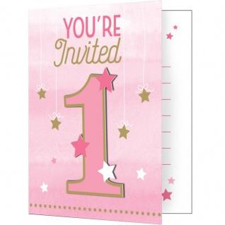 8 Einladungskarten zum 1. Geburtstag blinke kleiner Stern in Rosa