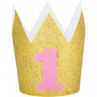 goldenes Glitzer Party Krönchen zum Ersten Geburtstag