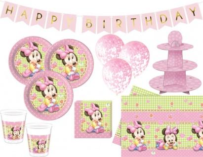 XL 44 Teile Disney Baby Minnie Maus Geburtstags Party Deko Set 8 Personen