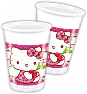 8 Hello Kitty Hearts Party Becher
