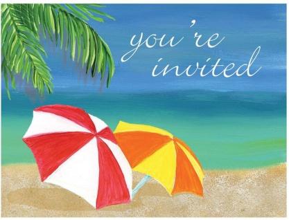 8 Einladungskarten zur Strand Party