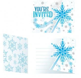 8 Einladungskarten Schnee Prinzessin