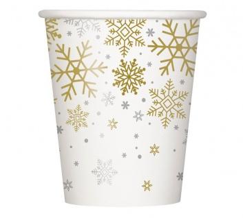 8 Papp Becher Schneeflocken in Silber und Gold