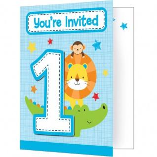 8 Einladungskarten 1. Geburtstag im Zoo Blau