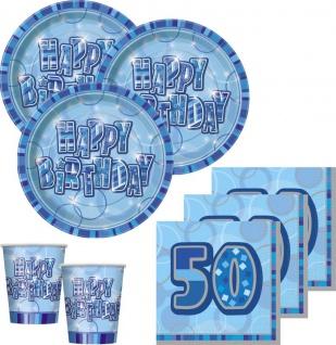 48 Teile Party Set zum 50. Geburtstag in Blau für 16 Personen