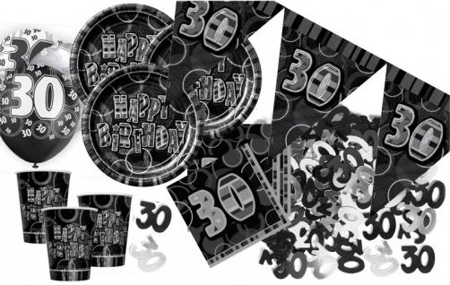 56 Teile zum 30. Geburtstag Party Set in Schwarz für 16 Personen