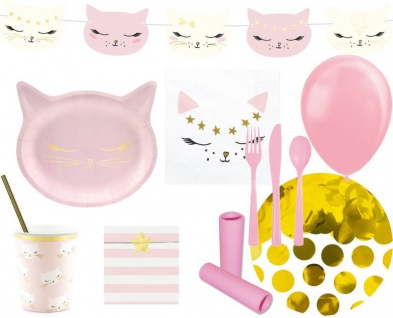 XL 79 Teile Kleine Katze Geburtstags Party Deko Set für 6 Kinder