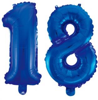 Folienballons Zahl 18 Blau Metallic 40 cm