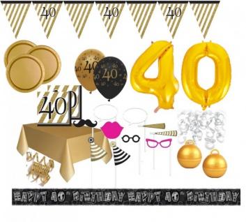 XXL Mega 106 Teile Set zum 40. Geburtstag - Party Deko in Schwarz & Gold für 32 Personen