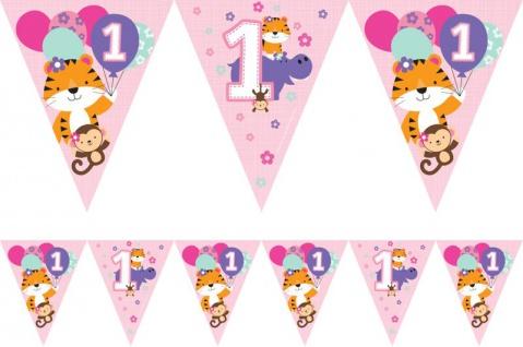 Wimpel Girlande 1. Geburtstag im Zoo Rosa