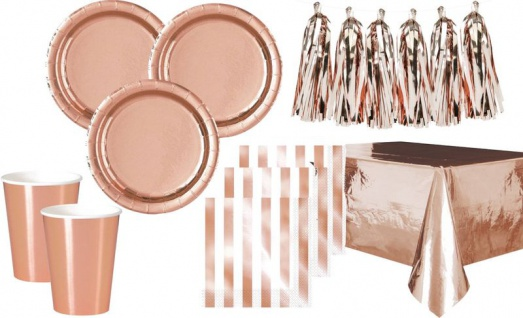 XL 42 Teile Party Deko Set Rose Gold Glanz für 12 Personen - Roségold
