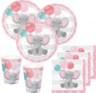 48 Teile Rosa Baby Elefant Party Deko Set für 16 Personen