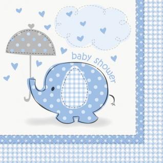 16 Servietten Baby Elefant blau