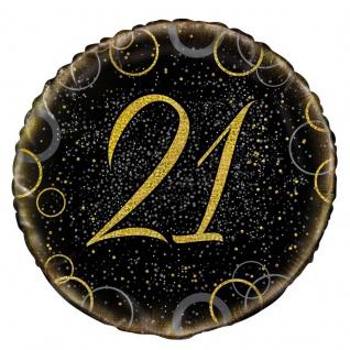 21. Geburtstag Folien Ballon Schwarz Gold