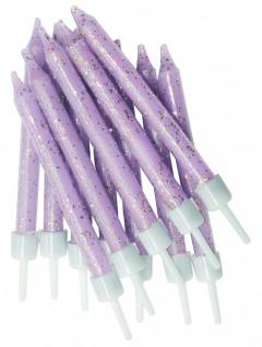12 Glitzer Kerzen Lavendel