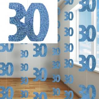 6 blaue hängende Glitzer Girlanden zum 30. Geburtstag