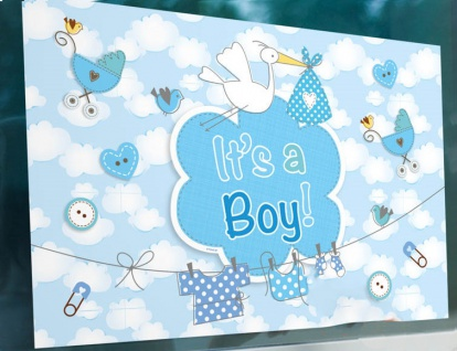 Fahne Fenster oder Wand Poster Baby Party Storch Blau aus Stoff