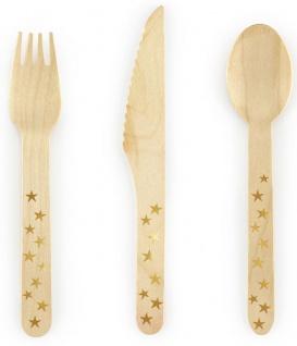 18 Teile Holz Besteck mit goldenen Sternen