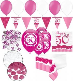 XXL 35 Teile zum 50. Geburtstag Perfectly Pink für 18 Personen - Servietten