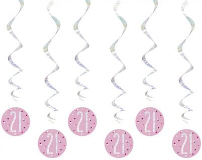 6 hängende Swirl Girlanden Pink Dots Glitzer zum 21. Geburtstag