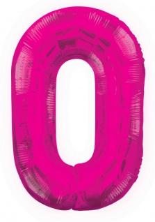 XXL Folien Ballon in Form der Zahl 0 Pink 86 cm