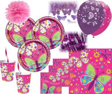 XXL 52 Teile Geburtstags Deko Set Schmetterling in Pink für 8 Personen